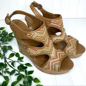Sbicca Multi Color Brown Ankle Buckle Wedges